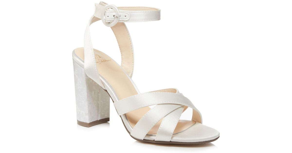 Jenny Packham Ivory Satin  pearl  High Block Heel Ankle Strap Sandals in  White - Lyst