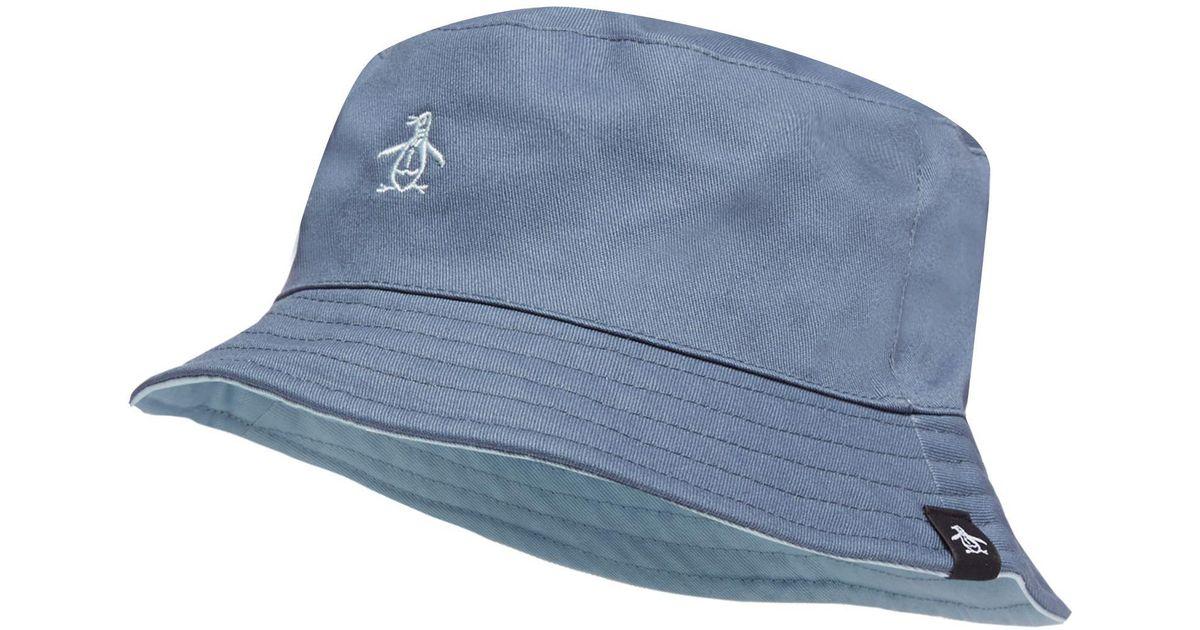 1c026e7efa6 Original Penguin Blue Reversible Bucket Hat in Blue for Men - Lyst