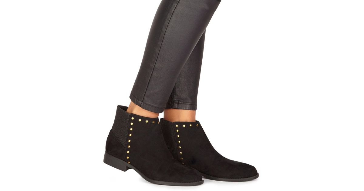 2921f94518 Faith Black Suedette  werlin  Wide Fit Ankle Boots in Black - Lyst
