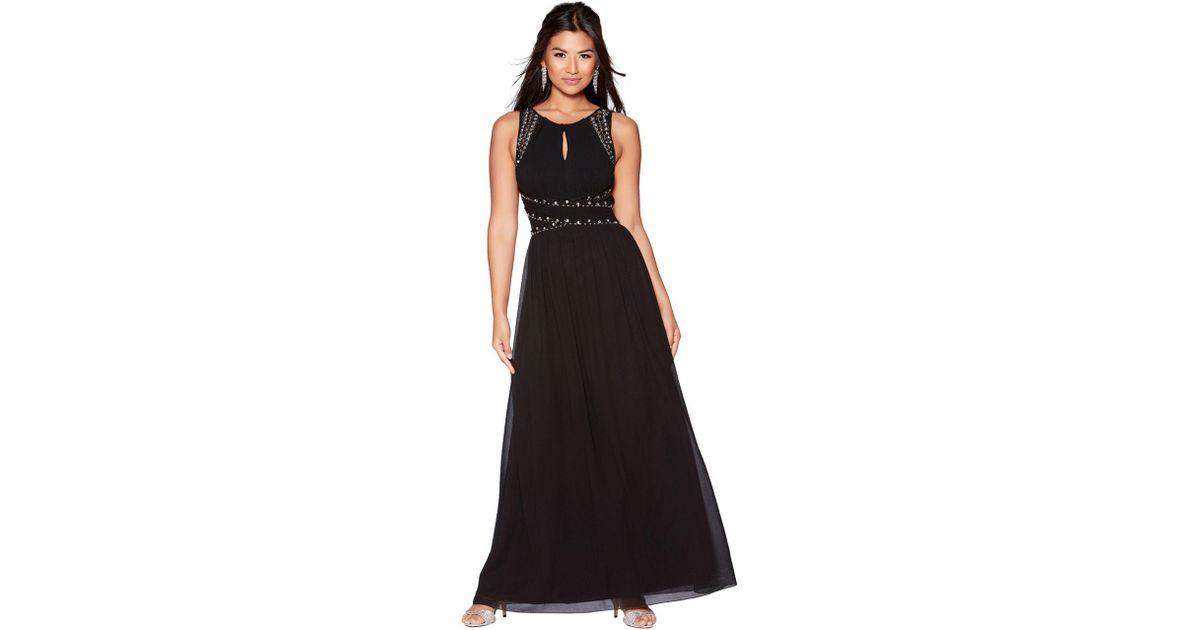 d5464042d80 Quiz Black Chiffon Embellished Keyhole Maxi Dress in Black - Lyst