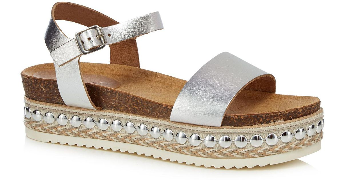 4d6578d8b544 Faith Silver Leather  joss  Mid Platform Ankle Strap Sandals in Metallic -  Lyst