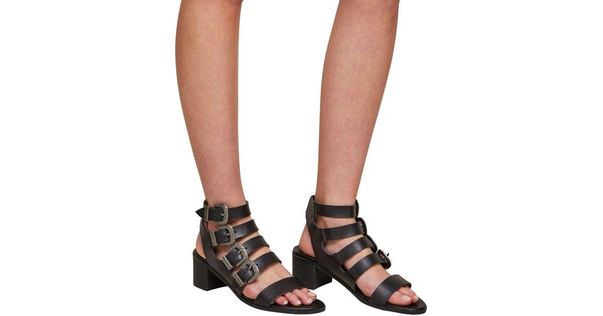 01046649bbfe Miss Selfridge Cadee Western Buckle Sandals in Black - Lyst