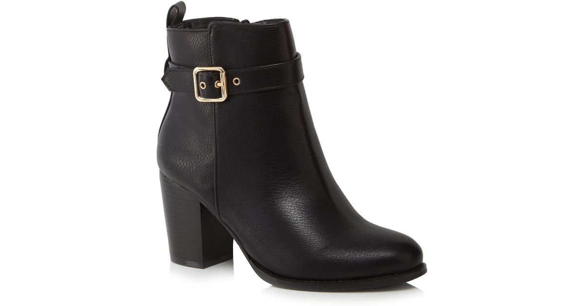 33920ab48d Faith Black  wanda  High Block Heel Wide Fit Ankle Boots in Black - Lyst