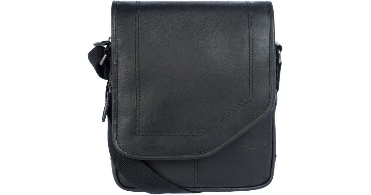 2ae4f9479c20 Cultured London Black 'trip' Buffalo Leather Despatch Bag for men
