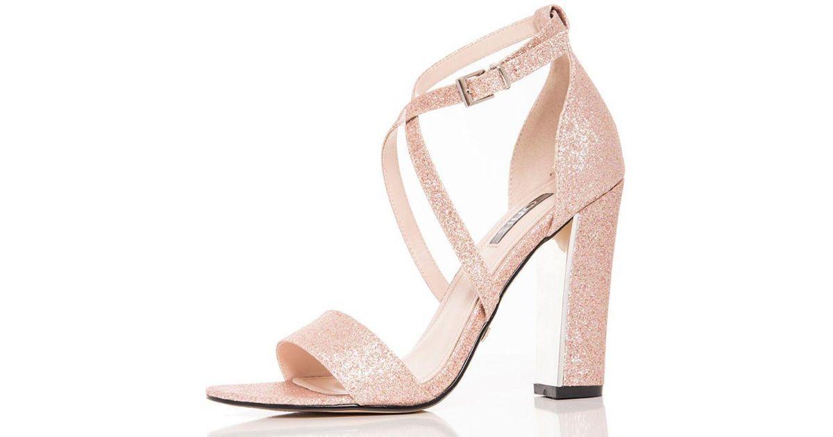 5d98755ee59d Quiz Rose Gold Glitter Block Heel Strappy Sandals in Metallic - Lyst