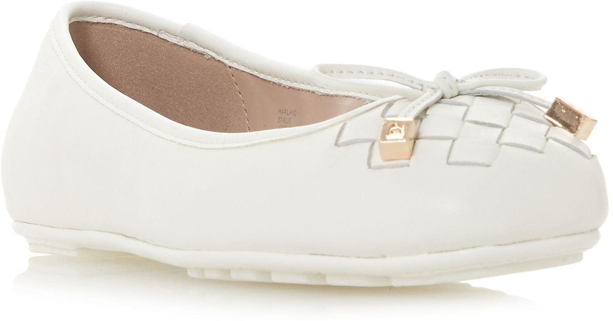 036628cc0 Dune White Leather 'harland' Ballet Pumps in White - Lyst