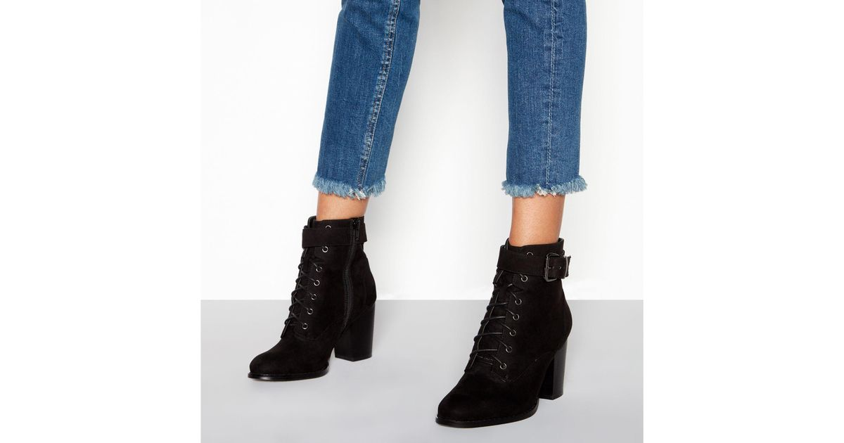 35841d49cfcc Faith Black Suedette Lace-up  willoughby  Block Heel Wide Fit Ankle Boots  in Black - Lyst