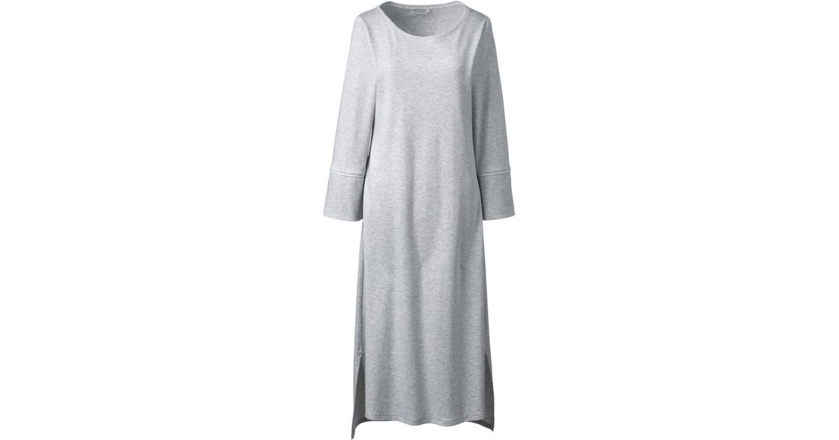 5d02f1072 Lands' End Light Grey Mid-calf Supima Nightdress in Gray - Lyst