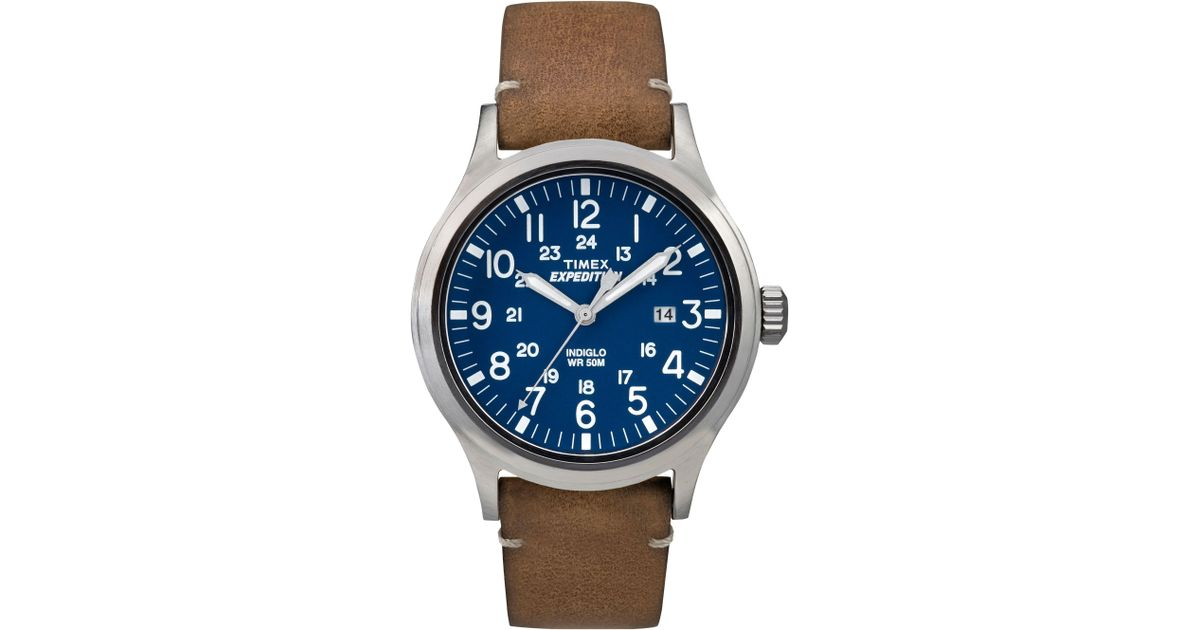99c76d206ae1 Timex Men s Blue  expedition Scout  Leather Strap Watch Tw4b01800 in Brown  for Men - Lyst