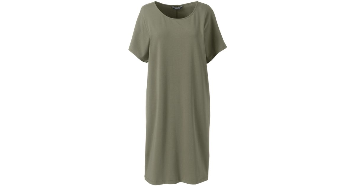 b02304ff Lands' End Green Womens Knitted T-shirt Dress in Green - Lyst