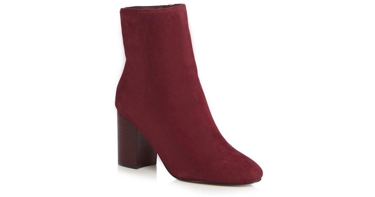 c85c400d71e J By Jasper Conran Wine Red Suede  jones  High Block Heel Ankle Boots in Red  - Lyst