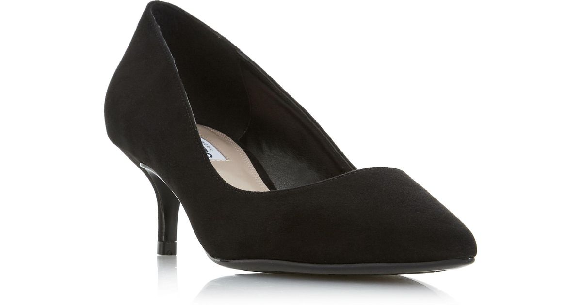7410d4c4f4 Dune Black Suede 'alesandra' Mid Kitten Heel Court Shoes in Black - Lyst