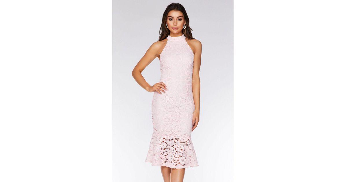 1abb412f2f Quiz Pale Pink Crochet High Neck Midi Dress in Pink - Lyst