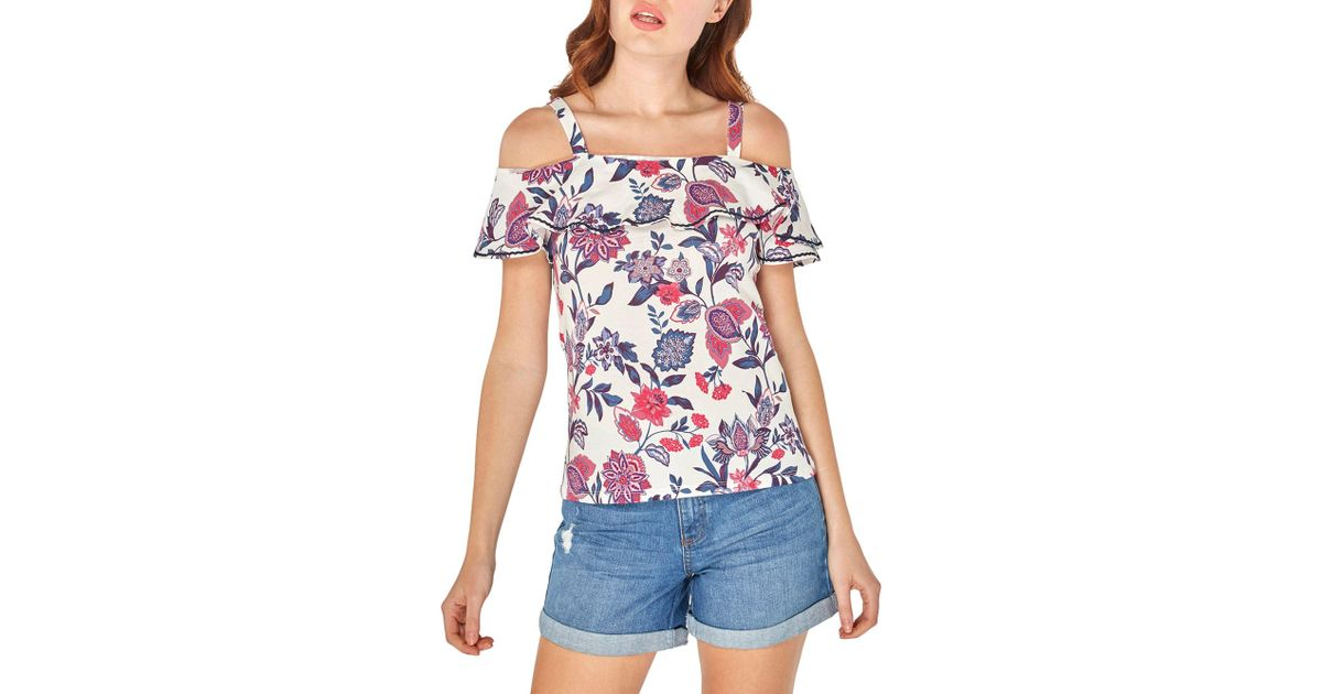 9025d720b2271 Dorothy Perkins Ivory Floral Print Cold Shoulder Top in White - Lyst