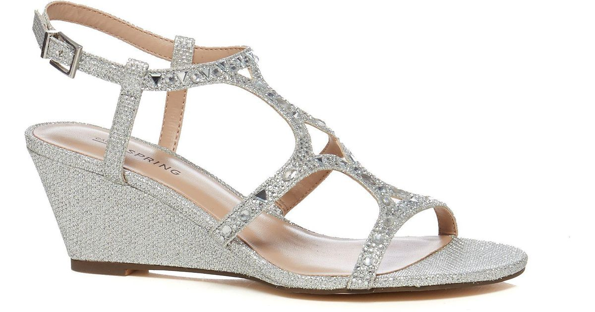 f645475d33 Call It Spring Silver 'corpe' Low Wedge Heel Ankle Strap Sandals in  Metallic - Lyst