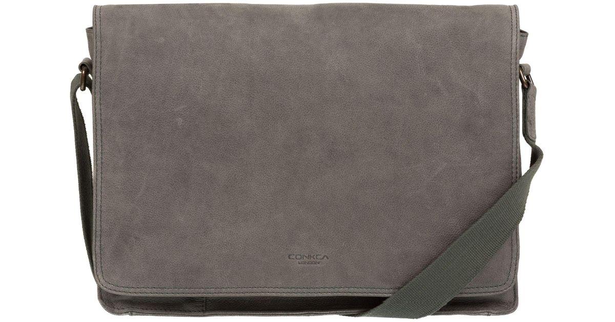 54e805badd Conkca London Vintage Grey  bolt  Leather Messenger Bag in Gray for Men -  Lyst
