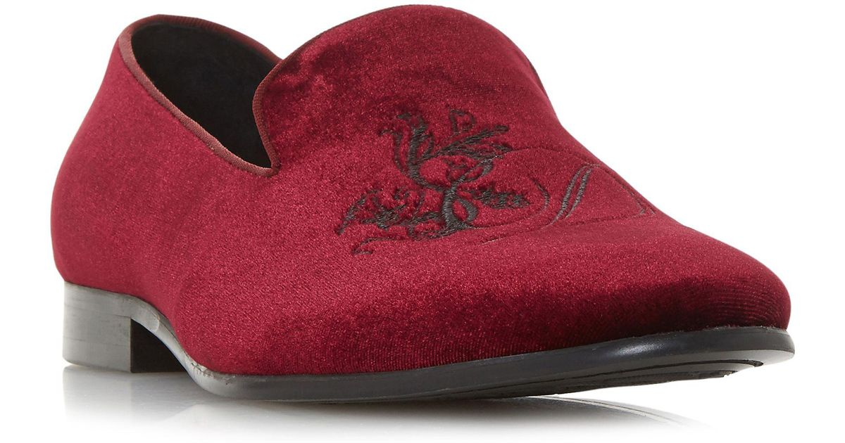 b5e226535 Dune Maroon  palace  Embroidered Slipper Cut Loafers in Red for Men - Lyst