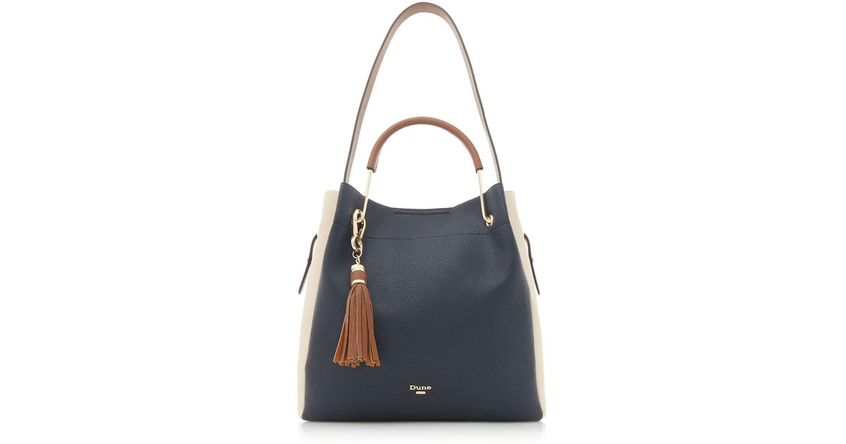 Dune Navy  daura  Metal Top Handle Slouch Bag in Blue - Lyst 9b64a3accd