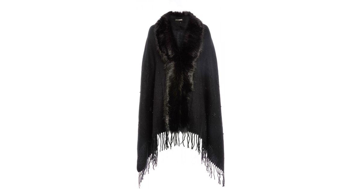 b71123a2b8c15 Quiz Black Pearl Faux Fur Trim Cape in Black - Lyst
