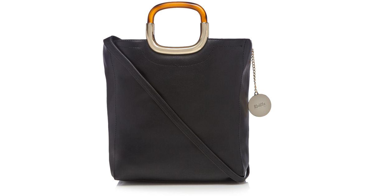 b11b985b4e Faith Black Tortoiseshell Handle Grab Bag in Black - Lyst