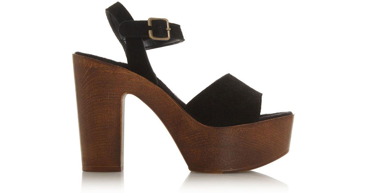 dadfa039919c Steve Madden Black Suede  lulla  High Platform Peep Toe Sandals in Black -  Lyst