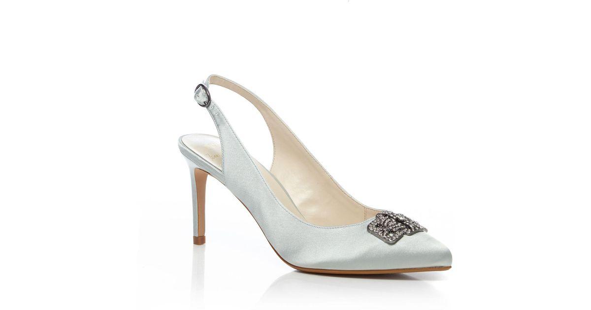 11cd6f945b Jenny Packham Pale Blue Satin 'passion' High Stiletto Heel Slingback in Blue  - Lyst