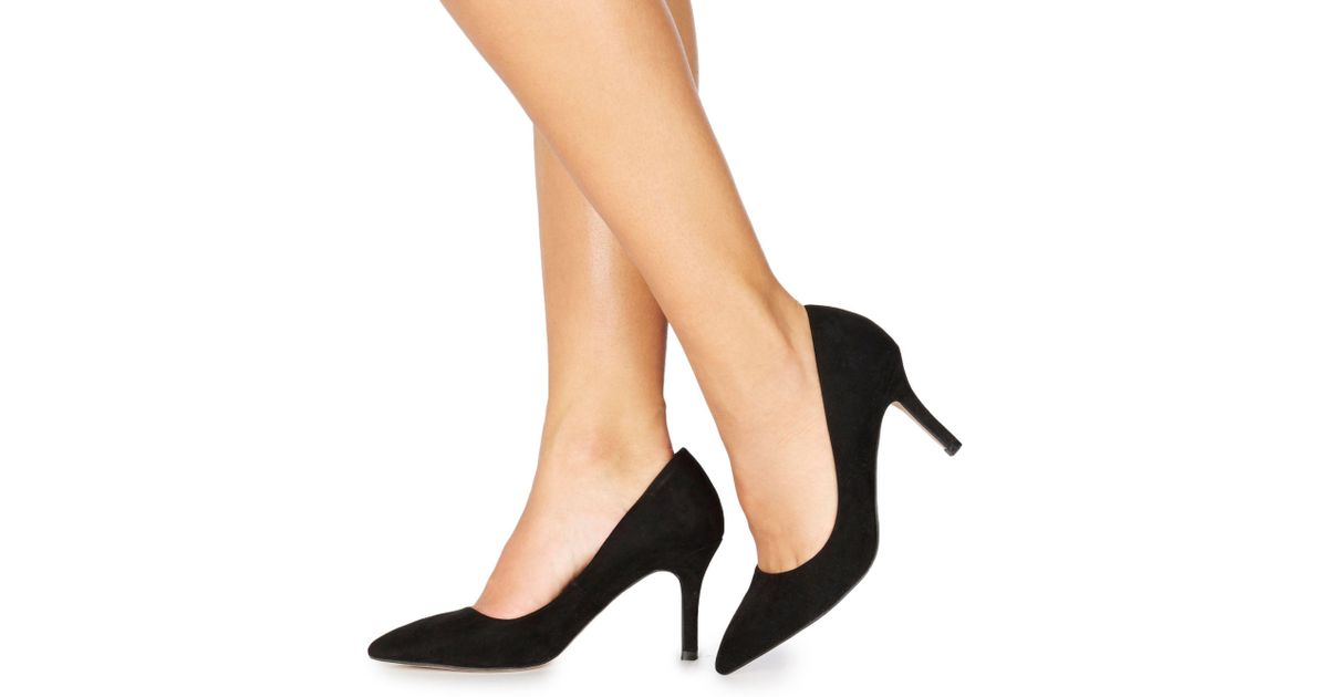 10f11745191 Faith Black Suedette  chariot  High Stiletto Heel Wide Fit Pointed Shoes in  Black - Lyst