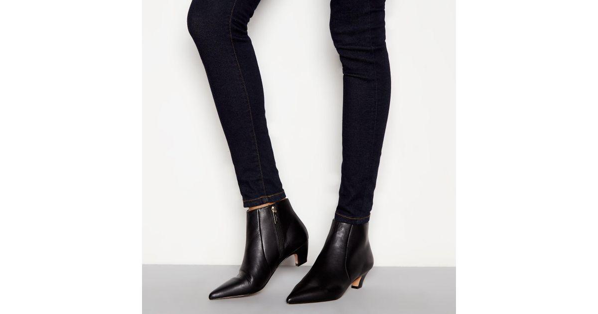 711c203659f J By Jasper Conran Black Leather  jitty  Kitten Heel Boots in Black - Lyst