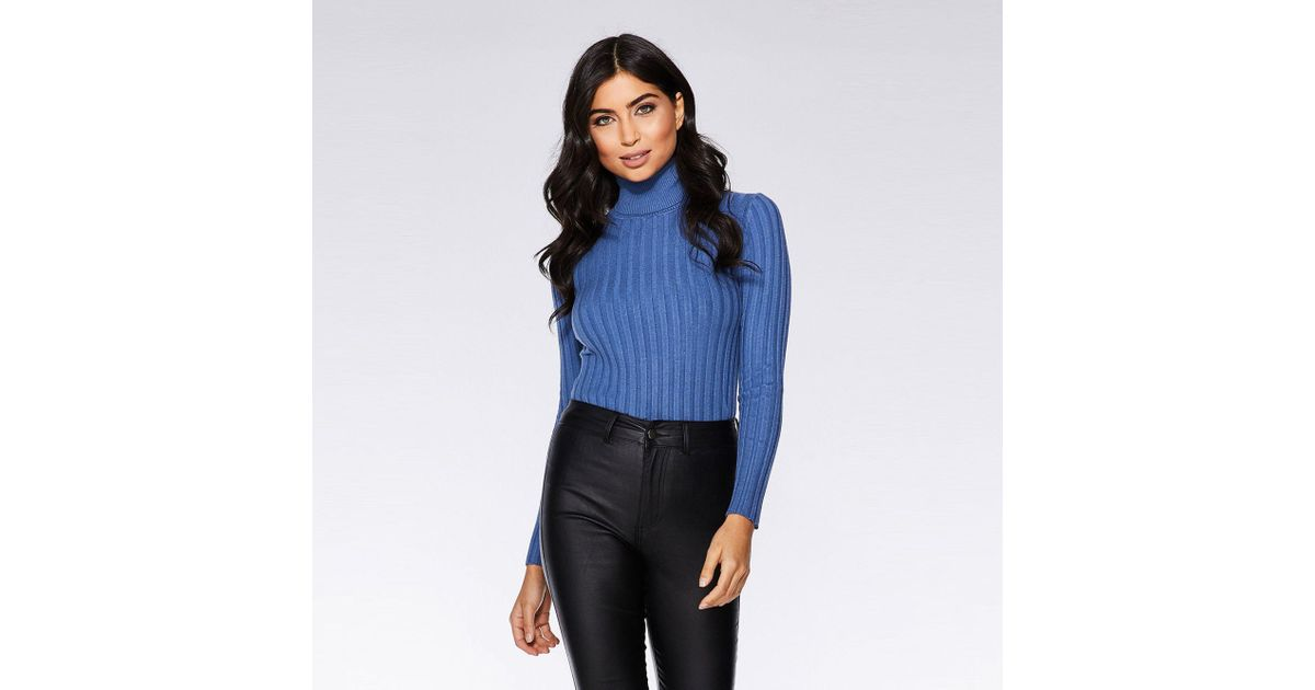 fee95d620299 Quiz Light Blue Knit Roll Neck Jumper in Blue - Lyst