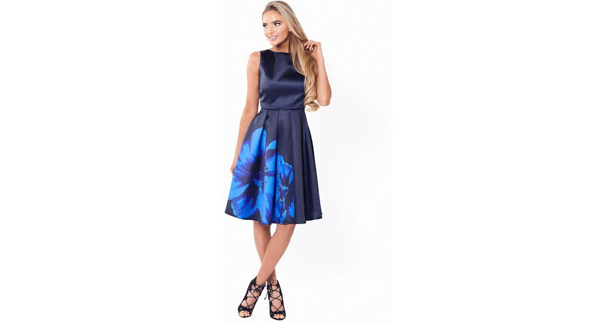 e0952893 Lipstick Boutique Navy 'shay' Satin Prom Dress With Oversized Floral Print  in Blue - Lyst
