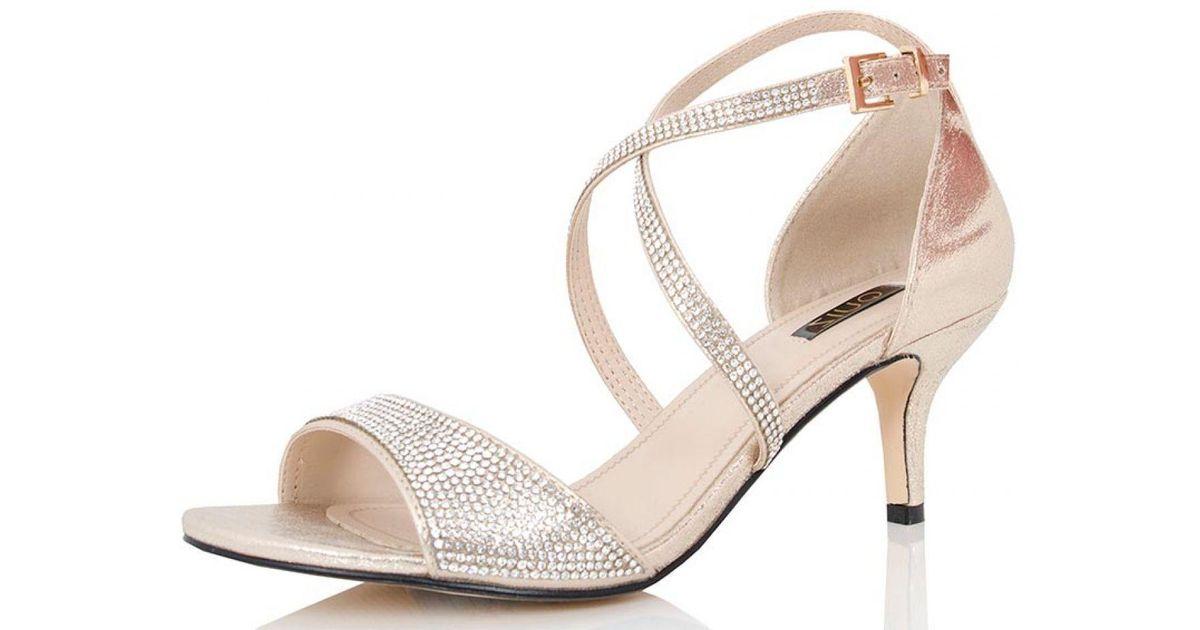 94836ed6cb9 Quiz Metallic Gold Shimmer Diamante Low Heel Sandals