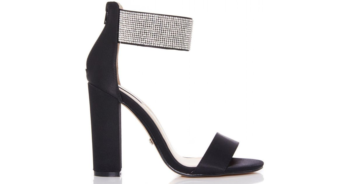 87254713b Quiz Black Diamante Ankle Strap Block Heel Sandals in Black - Lyst