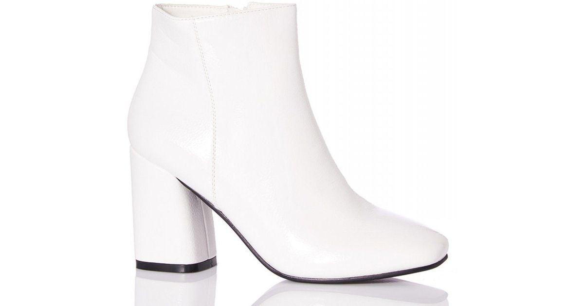 10df511430b Quiz White Patent Block Heel Ankle Boots