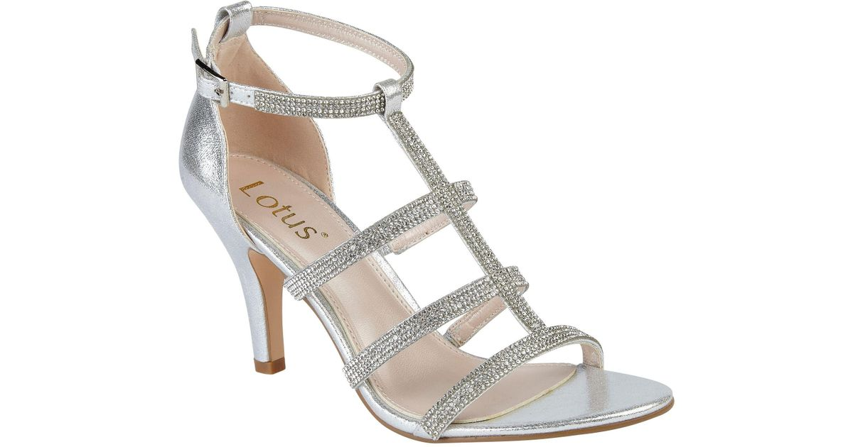 b9ae5d75405 Lotus Metallic Silver Diamante 'bixby' High Stiletto Heel T-bar Sandals