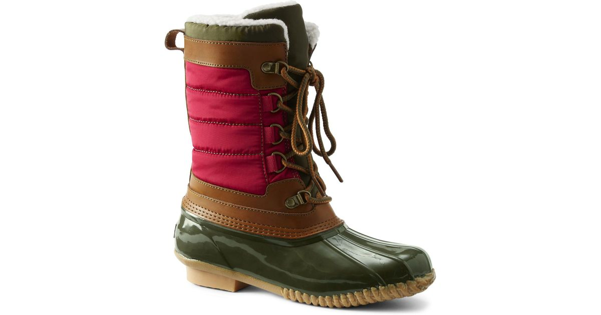 0afba38aaf765 Lands' End Red Sherpa Fleece Lined Duck Boots
