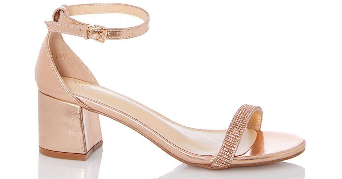 8c7cb6774c810 Quiz Rose Gold Low Block Heel Sandals in Metallic - Lyst