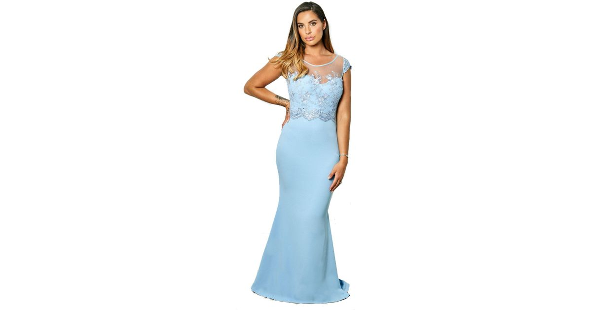 625e2868 Lipstick Boutique Powder Blue 'sadia' Embroided And Beaded Maxi Dress in  Blue - Lyst