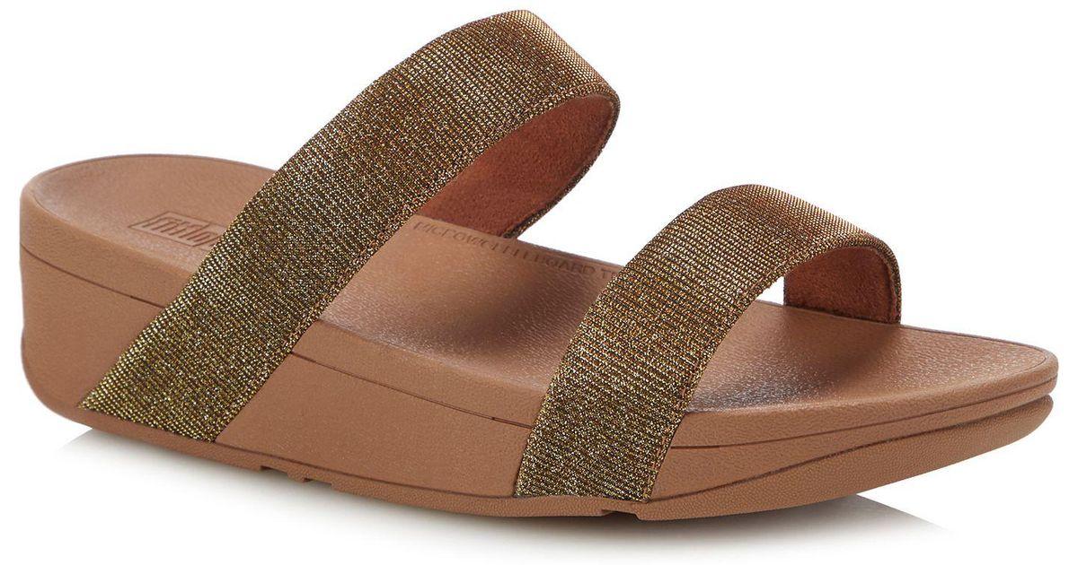7f3c7297cc7b Fitflop Gold  lottie Glitzy  Wedge Heel Sandals in Metallic - Lyst