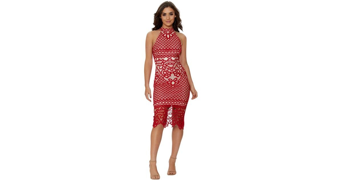 2c42165cfbd Quiz Red And Nude Crochet Midi Dress