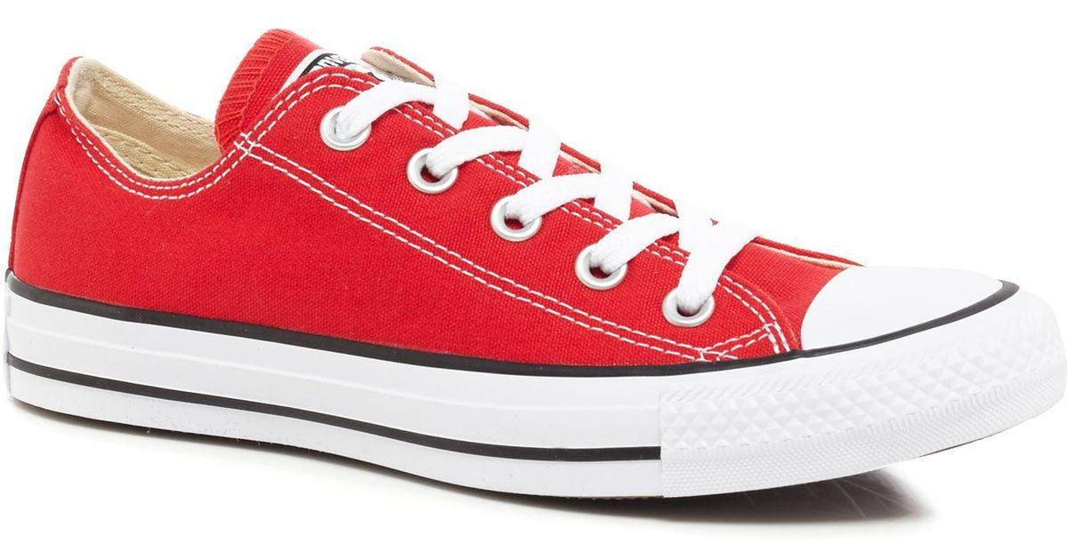 968e1b28001e Converse Red Canvas  all Star  Lace Up Shoes in Red - Lyst