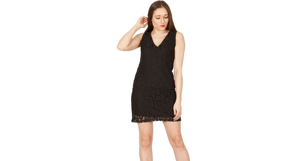 Apricot Black Lace Shift Dress In Black Lyst