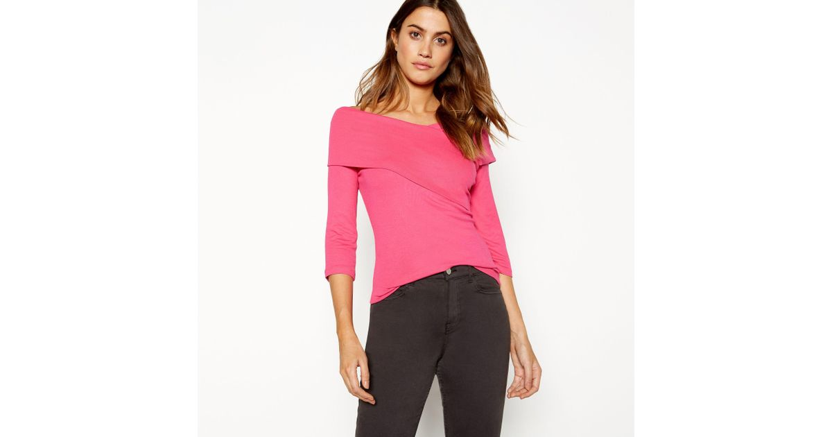 069b573f1a323 J By Jasper Conran Bright Pink Wrap Over Bardot Neck Long Sleeve Top in Pink  - Lyst
