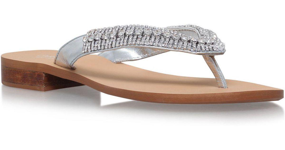 77b454b274 Carvela Kurt Geiger Silver 'breanne 2' Flat Sandals in Metallic - Lyst