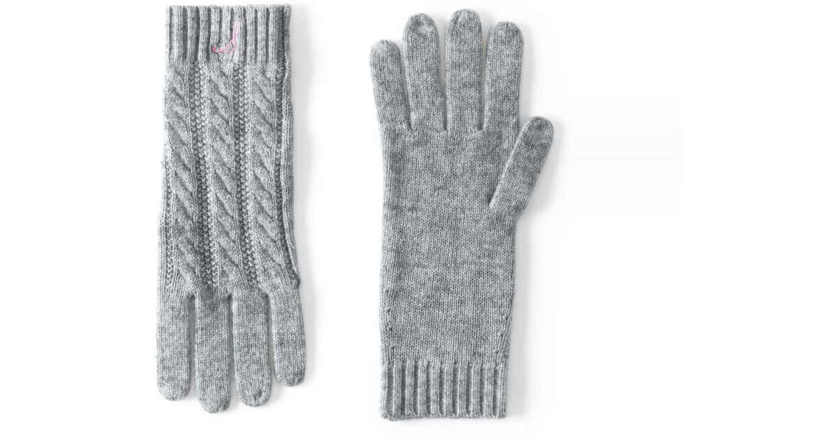 a896abc3a Lands' End Grey Cashmere Cable Gloves in Gray - Lyst