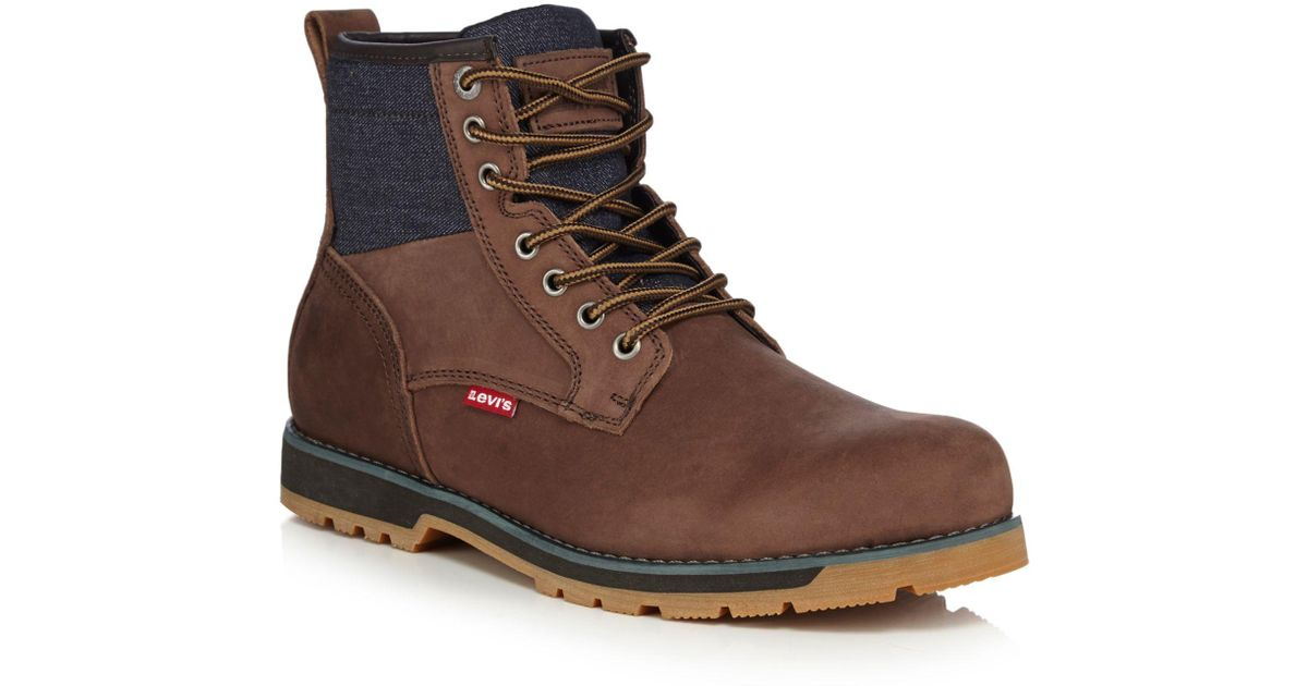 168b3d82 Levi's Dark Brown Leather 'logan' Lace Up Boots in Brown for Men - Lyst