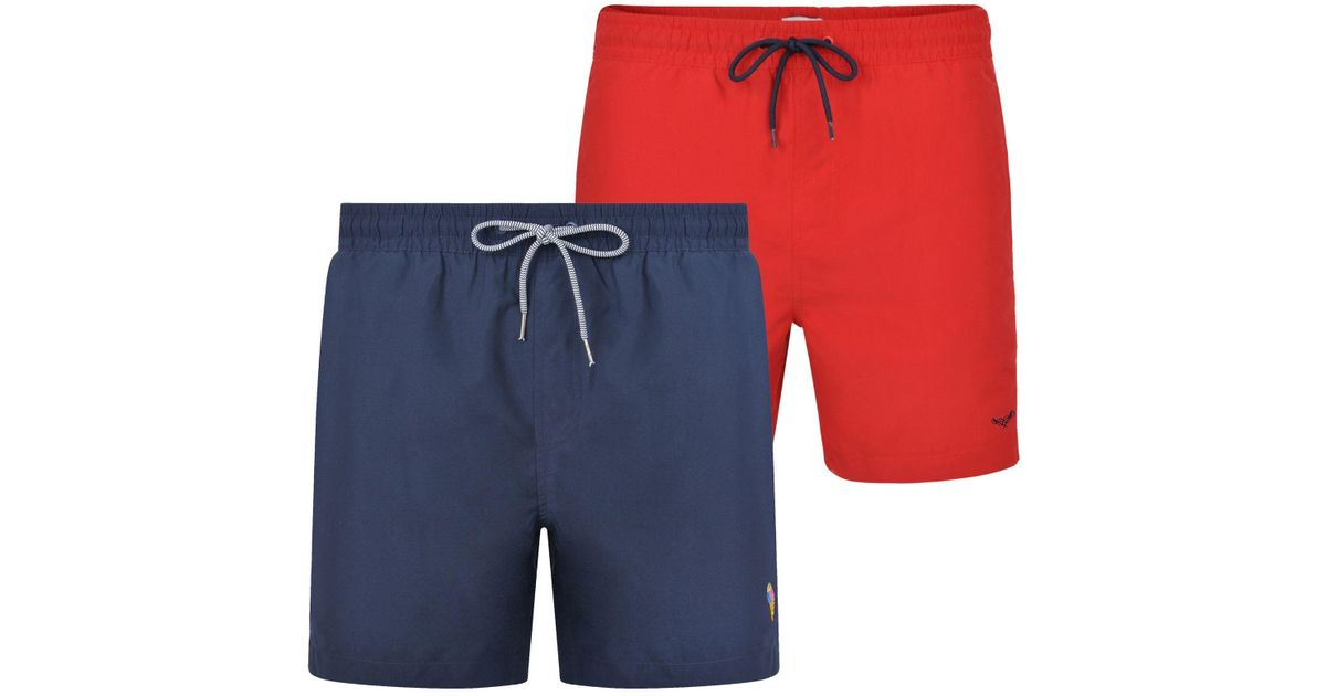 b0e2af25d3 Threadbare 2 Pack Red And Navy 'barwhit' Swim Shorts in Blue for Men - Lyst