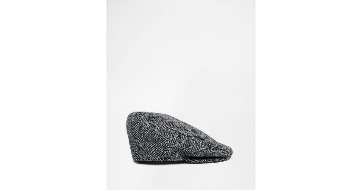 170cf6b3cb ASOS Gray Harris Tweed Baker Boy for men
