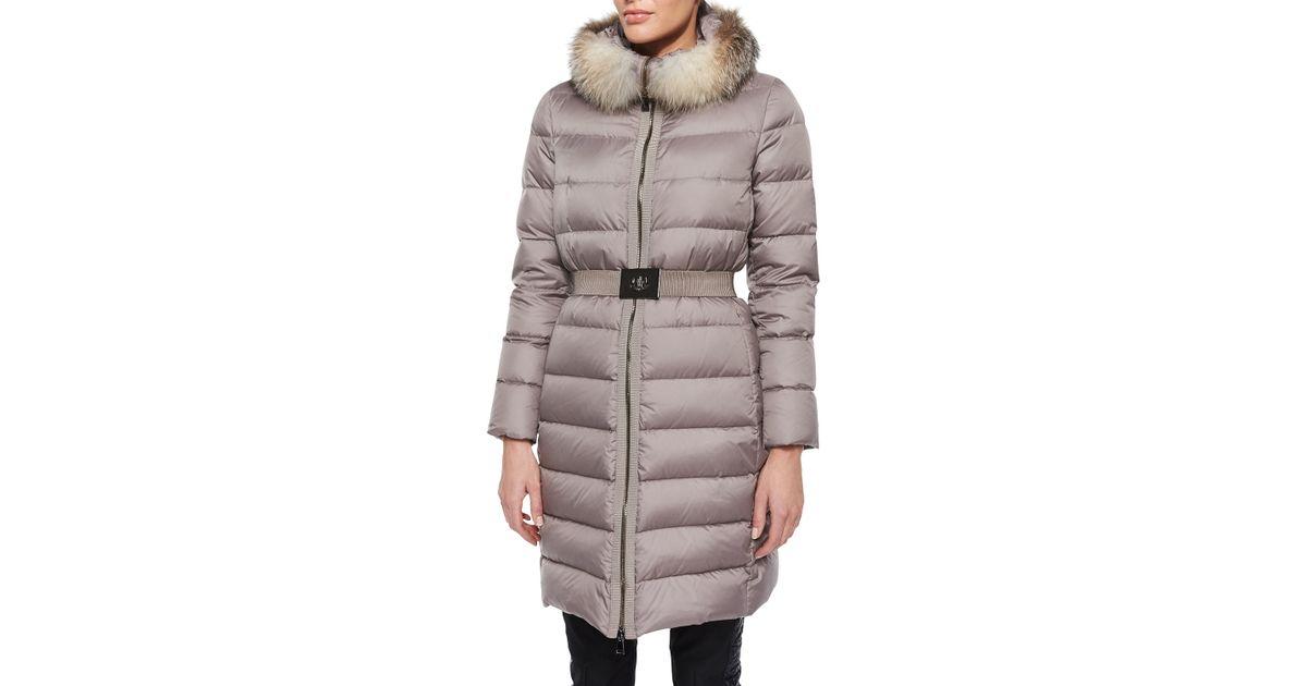 Moncler Black Fabrefox Fur Trim Puffer Coat With Belt Lyst