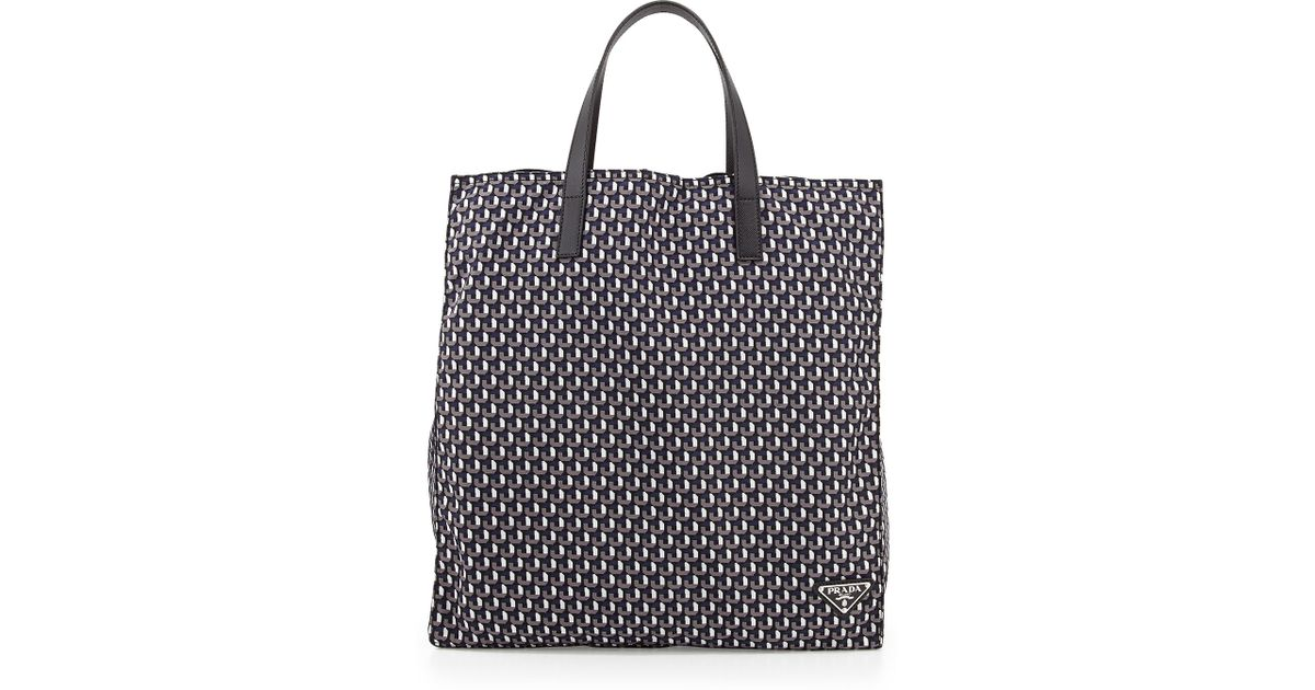 prada baby bag sale - prada octagon patterned nylon tote bag, prada saffiano lux tote ...