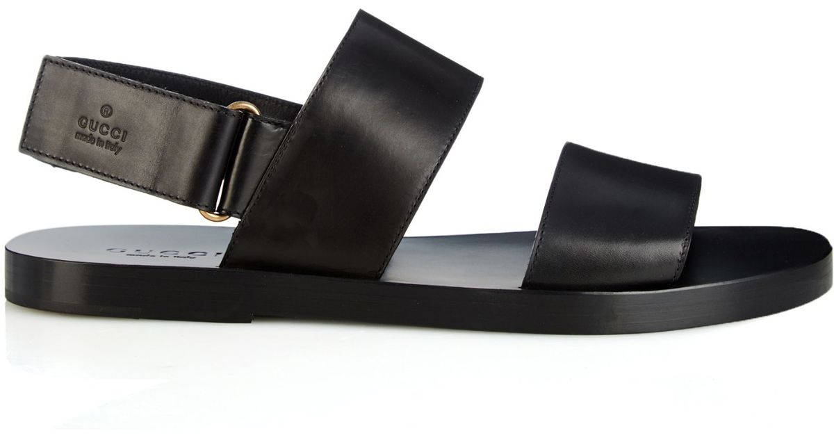 b699f4bf009 Gucci Black Double-Strap Leather Sandals for men
